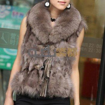 Autumn Winter Women's Real Natural Genuine Fox Fur Vest Lady Slim Waistcoat Female Gilet QD11616