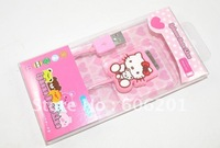 Hello Kitty USB data line/charging cable for iPhone&iPod(USB:2.0,Pink,30cm)--Free Shipping