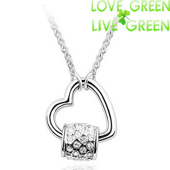 2014 Free Shipping women party  wedding bridal 18KGP Austrian Crystal Heart Pendant chockers Necklace fashion jewelry 4159