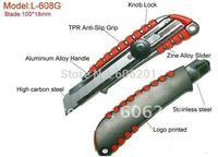 18mm Aluminimum Alloy Handle+High Carbon Blade(SK-7)+TPR Anti-slip Grip Utility Cutter Knives(16*4*2.2cm,L-608G)