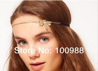 H794-010 10pcs/Lot Free Shipping gold forehead flower headbands elastic girl hair accessories