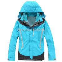2014 New Female Brand Outdoor Double Layer 3 in1 Windproof Waterproof Ski Skiing Jacket  Outdoor Camping & Hiking Jacket women