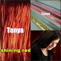 "Shining Red 28"" 300s/lot 1lot/package silk hair tinsel for hair extensions/flare strands/bling salon extensions(China (Mainland))"