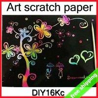 FREE SHIPPING Scratch Art Paper Drawing Children's Favorite DIY Send Bamboo Pen Promotion Fashion Kids Gift 100pc/lot SayHi 16Kc