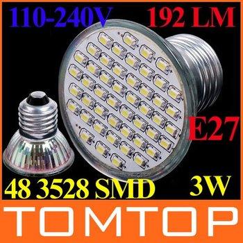 110-240V LED Spot light IP44 3W 192 LM 48 3528 SMD LED Bulb Lamp Light Spotlight E27/GU5.3/MR16/GU10 Free shipping