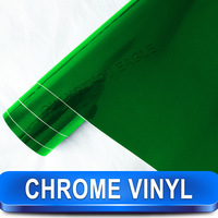 Free Shipping High Quality Chrome Foil Removable PVC Green Chrome Mirror Vinyl Film