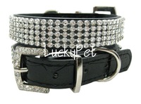crocodile PU crystal buckle leather pet collars&leashes leather pet products 5 colors