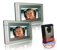"Ultra-thin 7"" Colour  video door phone ,200 photos memory / Novel appearance 1 camera + 2 monitor"
