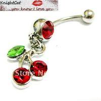 Navel Belly Button Ring Piercing Body Jewelry Hot Sexy Fashion Charm Girls Cherry CZ Stone 316Steel Free Shipping Xmas 10pcs