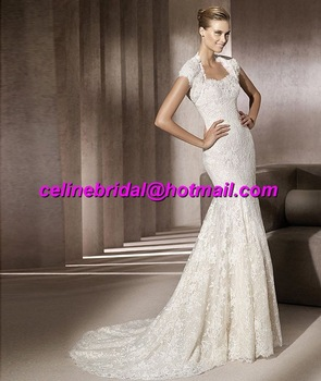 Discount In Stock Designer Exquisite Unique Beach Mermaid Cheap Lace Ivory Bridal Wedding Dresses/Gowns with Bolero On Sale
