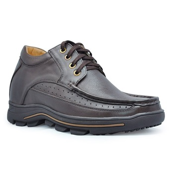 B771-Brown/ Black genuine leather Height elevating  shoes lift height 8CM, Outdoor shoes-Sz 37-44