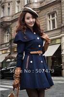 2012 New Fashion Women's Cape Slim Trench Long Sleeve Wool Coat with Belt, Hot Sale!