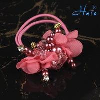 Free Shipping 12pcs/lot Handmade Pink Flower Beaded Pony Holder  Cheap Hair Accessories HP0010