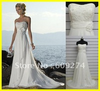 Free Ship 2012 Hot Designer Strapless Backless Chiffon Beads Sexy Beach Wedding Dresses White Empire Bridal Gowns