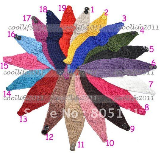 5 pcs/Lot free shipping 2013 Newest Handmade knit headdress Flower headwrap headwear fashion