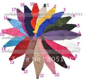 5 pcs/Lot free shipping 2013 Newest Handmade knit headdress Flower headwrap headwear fashion