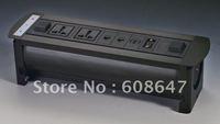 electric flip desktop socket with 2 universal power+2 network+1 hdmi+1 vga