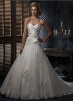 New Arrival Hot Sale A-Line Sleeveless Satin Tulle Wedding Dresss with Sweet Hearted Neckline