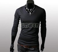 New Slim Fit Cotton Stylish V-Neck Long Sleeve Casual Men's T-Shirt Tops Black. White, Light Gray. Coffee Free Shipping 346