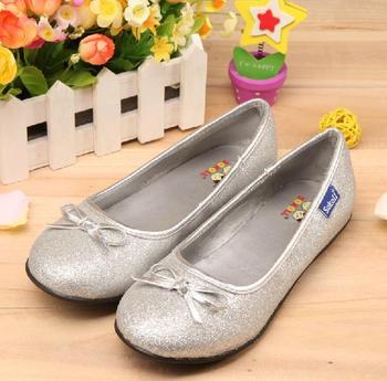 Drop/Free Shipping Hot Selling Dark Silver Children Girls Glitter Ballet Dance Shoes