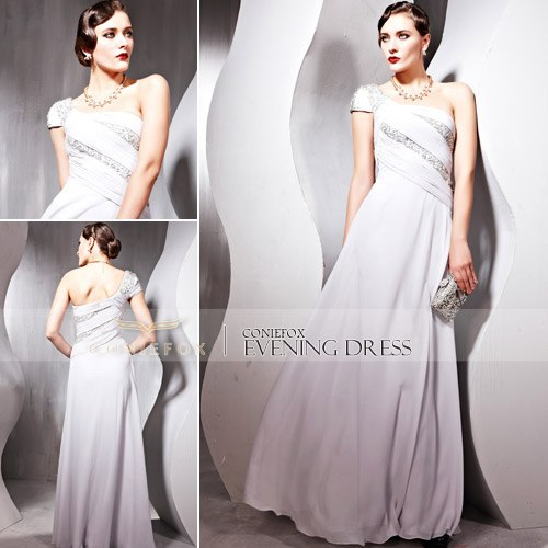 Promotion! 70% Off Coniefox One Shoulder Beaded A-Line Fancy Bridesmaid Gown 56688(China (Mainland))