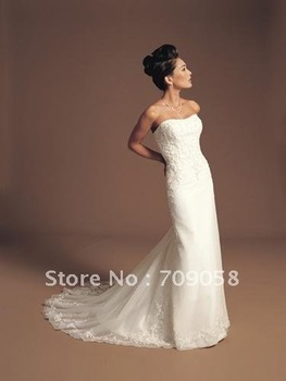 Factory Outlet Center !2012A+++Strapless Sheath Satin Wedding Dress Free Shipping No:380