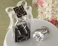 Free Shipping +With This Ring Crystal Keychain Ring in Clear Color+100set / lot+Very Good for Wedding Favors