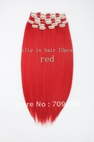 Best Seller Synthetic clip in on hair extension Kanekalon high temperature fiber 10pcs 170g 1set 22 24 inch red