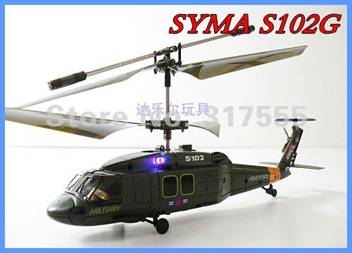 SYMA S102G 3CH UH-60 Black Hawk RC Gyro MINI Helicopter  22CM Free Shipping