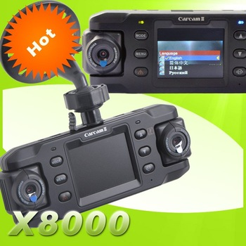 Dual Lens Car DVR X8000  Twins Cam Car Video Recorder with HD 720P + G-Sensor + Motion Detection Free Shipping