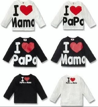 Hot~ I love papa I love mama Long sleeve t-shirts babys T-shirts boys girls t-shirt  I love  mama papa