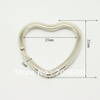 Free Shipping!3.0x25x31mm Heart shape Key Ring,100pcs/lot,Wholesale Metal Key Ring,Key Chain Accessory