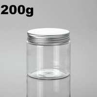 20pcs/1lot.200g PET plastic jar with aluminum cover.PET jar.Cream jar.Powder container.Split charging PET bottle.Beauty package