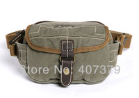 Free Shipping! Thick canvas with genuine leather waist bag waist pack swagger bag leisure bag 241-8 ash green