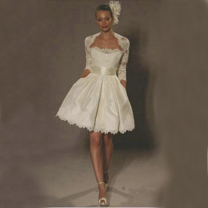 2014 سترة مع الأكمام فساتين الزفاف رخيصة