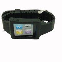 Free Shipping Wholesale 20pcs Silicone Wrist Strap Watch Band Watchband for iPod Nano 6th,Black