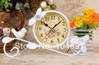 T081038 metal  tabel clocks with pen vase  single faced art clocks  hot sale metal desk clocks special need clock  1pc/lot.