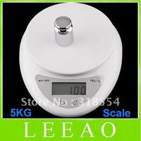 Best Price 30pcs/lot # 5000g/1g 5kg LCD Display Digital Scale Kitchen Food Scales Postal White Free Shipping