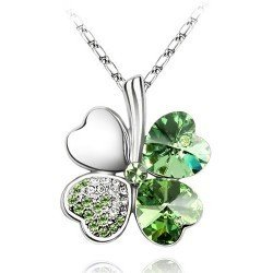 10pcs multi-color Silver Crystal Flower Clover Necklace,Free Shipping/Wholesale Four-leaf Clover Pendant Necklace,SP011