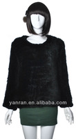 YR-362B New style hand knitted Genuine Rex Rabbit Fur Sweater