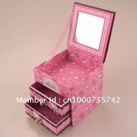Cute Hello kitty mini jewelry Caskets Trinket Boxes carton containing box case pink retail wholesale