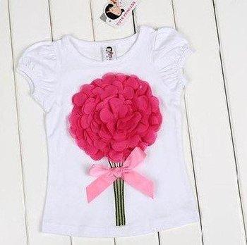 Girls puff sleeve t-shirts+B2W2 Baby printed rose children's cotton shirt