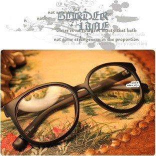 Free shipping big frame arale glasses, plane lens Eyeglasses Man's Woman's fashion glasses with lens high quality for gift