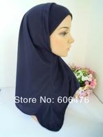 mu820 high quality pure colors cotton classic two piece muslim hijab  islamic women's hat wholesale free shipping