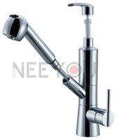 Fuctional Design 2012 New Kitchen Sink Soap Dispenser Sanitizer Dispenser Pull out Faucet Brass Basin Mixer Tap Chrome NY02676