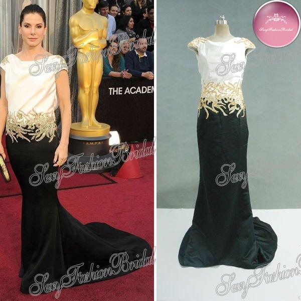 84th Oscar Sandra Bullock short sleeves bateau neck natural waist court train mermaid black and white celebrity evening dresses(China (Mainland))