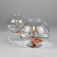 Multifunctional Clear Glass Candlestick Dia110xH97mm with T-light, for decoration, wholesale, 2pcs/ lot, free shipping