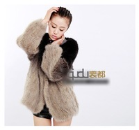2013 Women's Genuine Knitted Mink Fur Coat Tie-dyed Style Female Winter Warm Outwear In stock QD20089