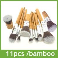11 pcs Nylon synthetic hair natural bamboo handle professional makeup Brushes set,maquiagem pinceis,cosmetics