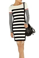 Autumn and winter New pure stripes cultivating a long-sleeved knit dress/Ms. 2012-13
